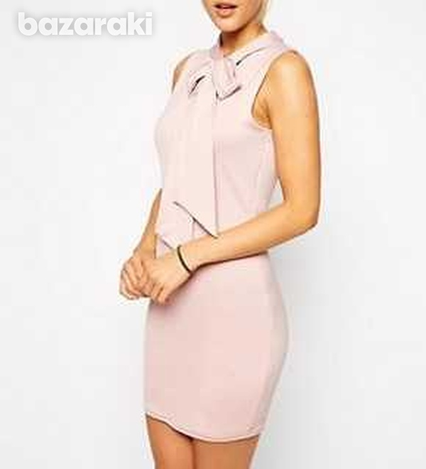 Asos pale pink mini bodycon dress with bow uk 12-1