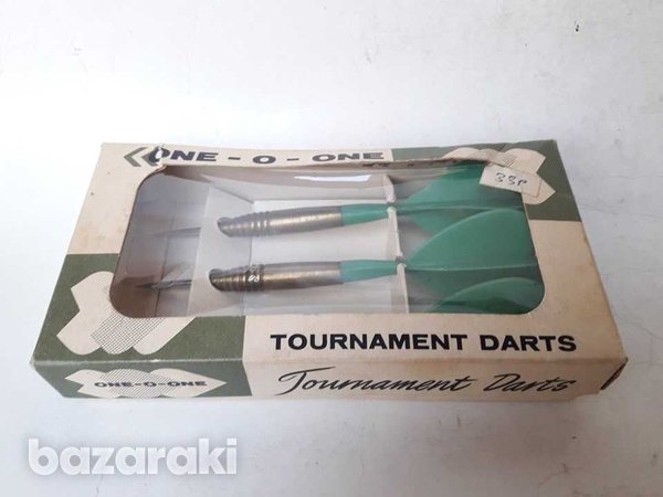 Vintage collectible brass darts set boxed in very good condition-2