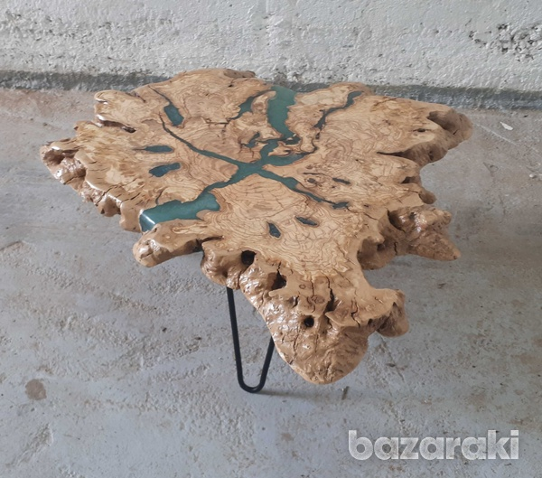 Olive wood coffee table with sparkling blue epoxy-1